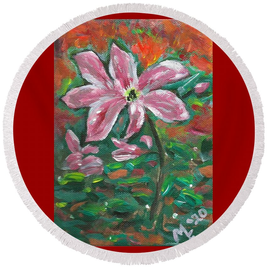 Clematis Painting Round Beach Towel featuring the painting Clematis by Monica Resinger