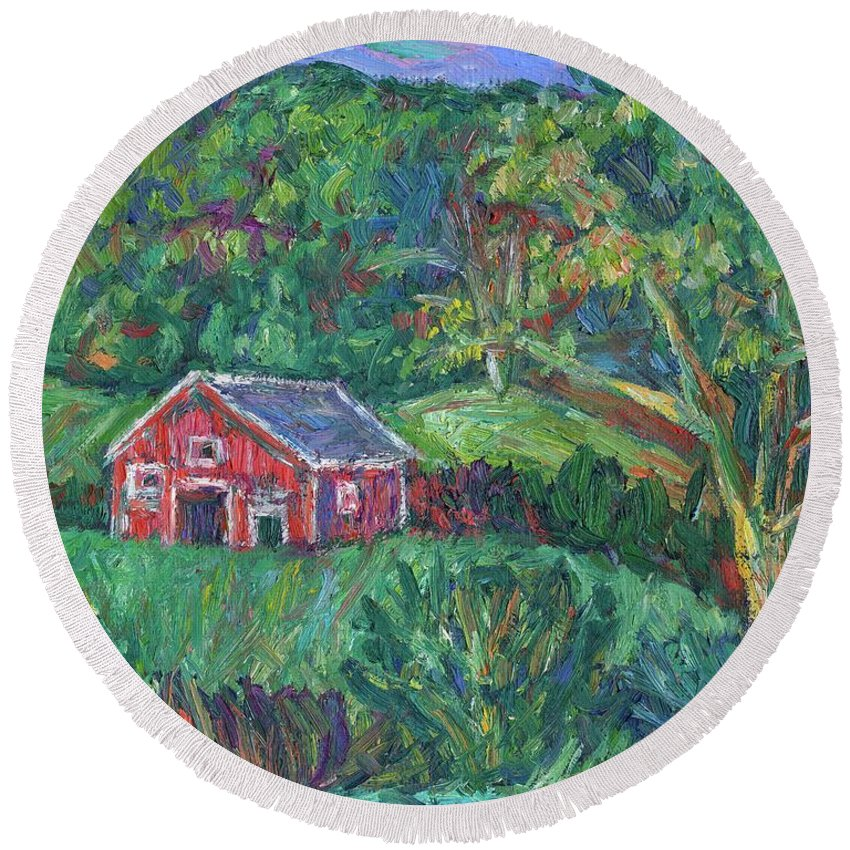 Rural Round Beach Towel featuring the painting Clover Hollow in Giles County by Kendall Kessler