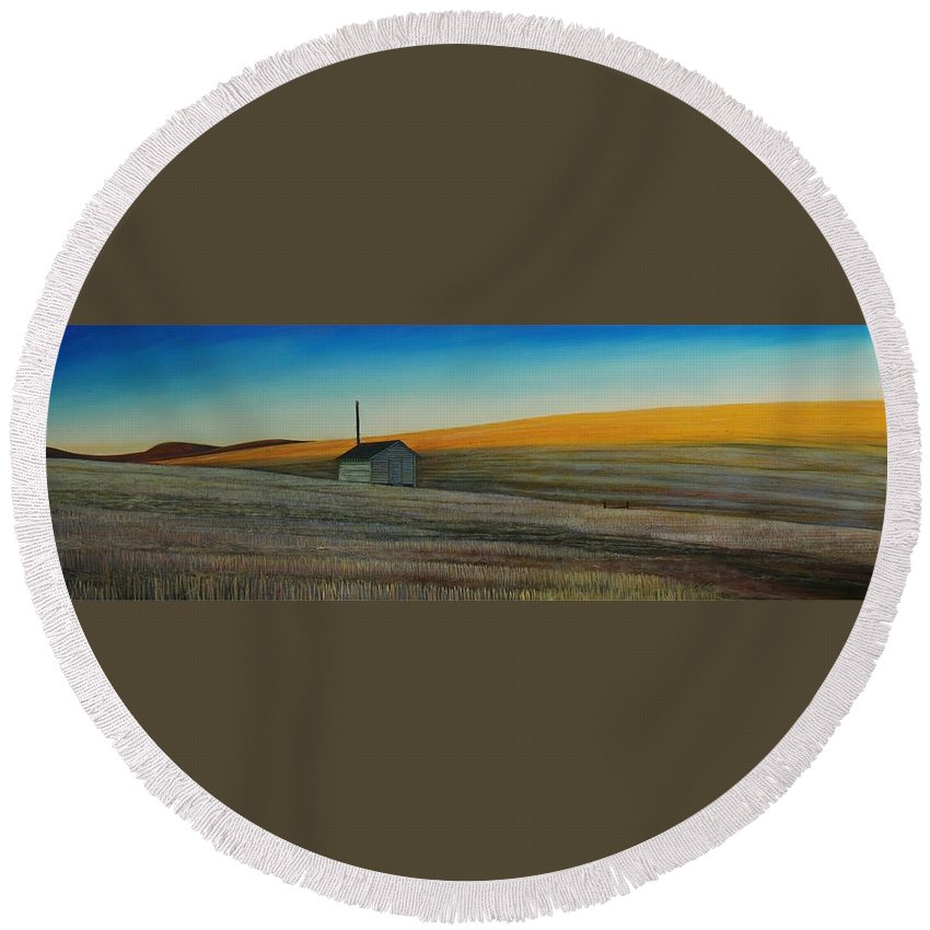 Wheat Round Beach Towel featuring the painting Cold Field at Dusk by Leonard Heid
