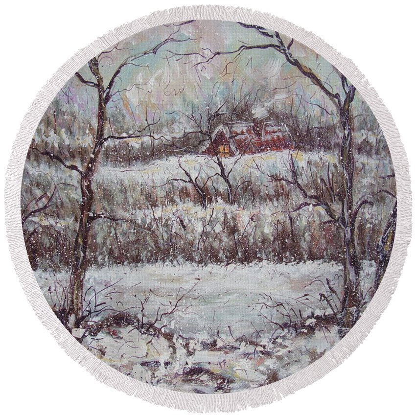 Landscape Round Beach Towel featuring the painting Cold Winter by Natalie Holland