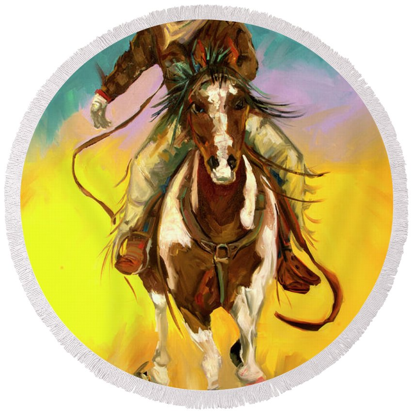 Cowboy Round Beach Towel featuring the painting Coming at You by Diane Whitehead