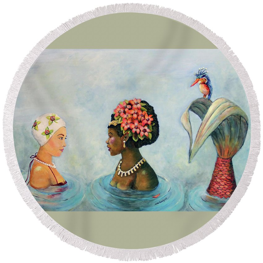 Mermaid Round Beach Towel featuring the painting Conversation With a Mermaid by Linda Queally