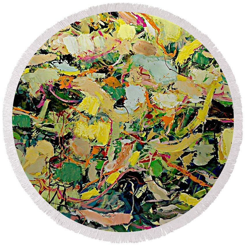 Landscape Round Beach Towel featuring the painting Cotton Blossom by Allan P Friedlander