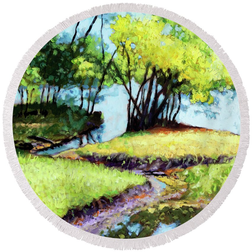 Trees Round Beach Towel featuring the painting Creve Coeur Stream by John Lautermilch