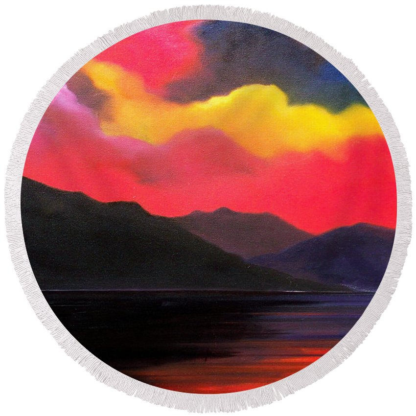 Surreal Round Beach Towel featuring the painting Crimson clouds by Sergey Bezhinets