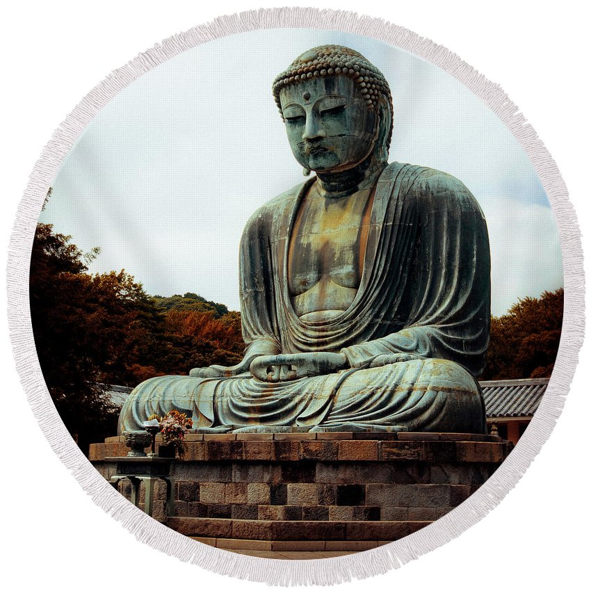 Nate Spotts Round Beach Towel featuring the photograph Daibutsu by Nathan Spotts