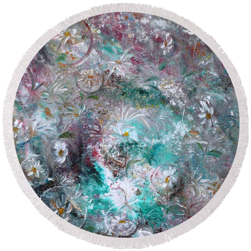 Original Flower Abstract Painting Round Beach Towel featuring the painting Daisy Dreamz by Karin Dawn Kelshall- Best