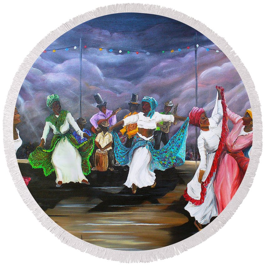Caribbean Painting Original Painting Folklore Dance Painting Trinidad And Tobago Painting Dance Painting Tropical Painting Round Beach Towel featuring the painting Dance The Pique by Karin Dawn Kelshall- Best