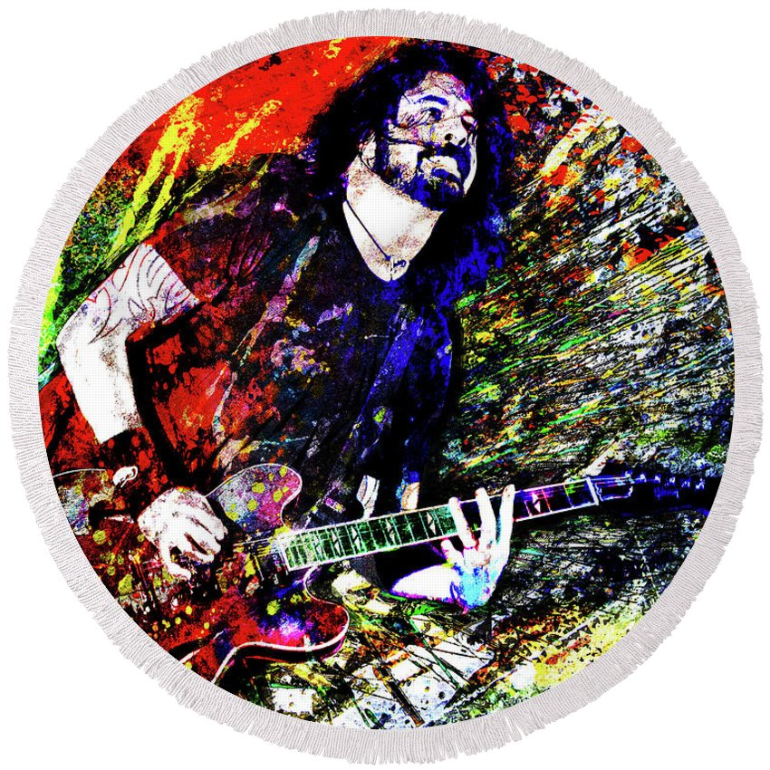 Dave Grohl Round Beach Towel featuring the mixed media Dave Grohl Art by Ryan Rock Artist