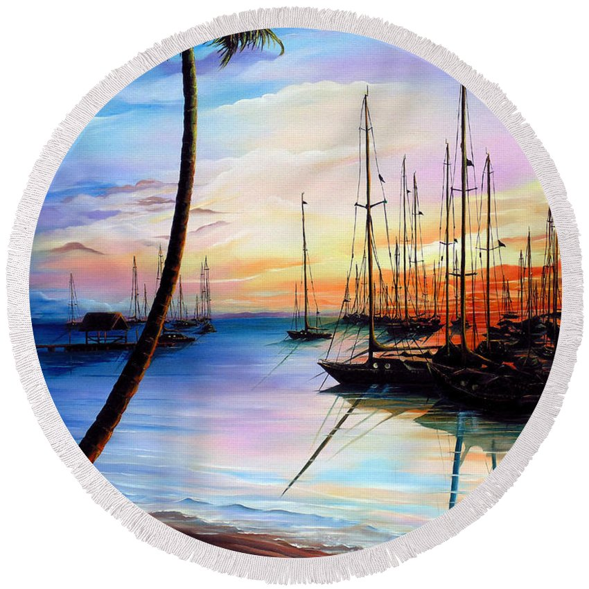 Ocean Painting Seascape Yacht Painting Sailboat Painting Sunset Painting Tropical Painting Caribbean Painting Yacht Painting At The End Of A Yachting Regatta At Pigeon Point Tobago Painting Round Beach Towel featuring the painting DAYS END Yachting Regatta At Pigeon Point Tobago by Karin Dawn Kelshall- Best