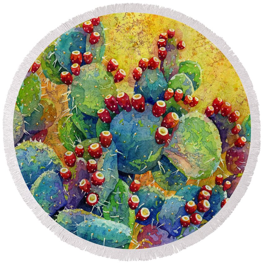 Prickly Pear Round Beach Towels