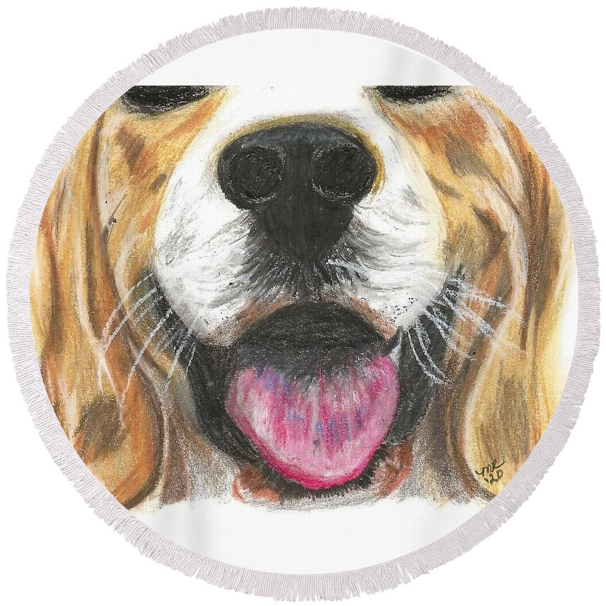 Dog Face Round Beach Towel featuring the painting Dog Face by Monica Resinger