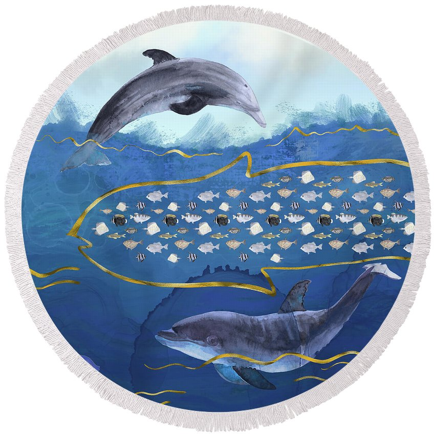 Dolphin Round Beach Towel featuring the digital art Dolphins Hunting Fish - Surreal Seascape by Andreea Dumez