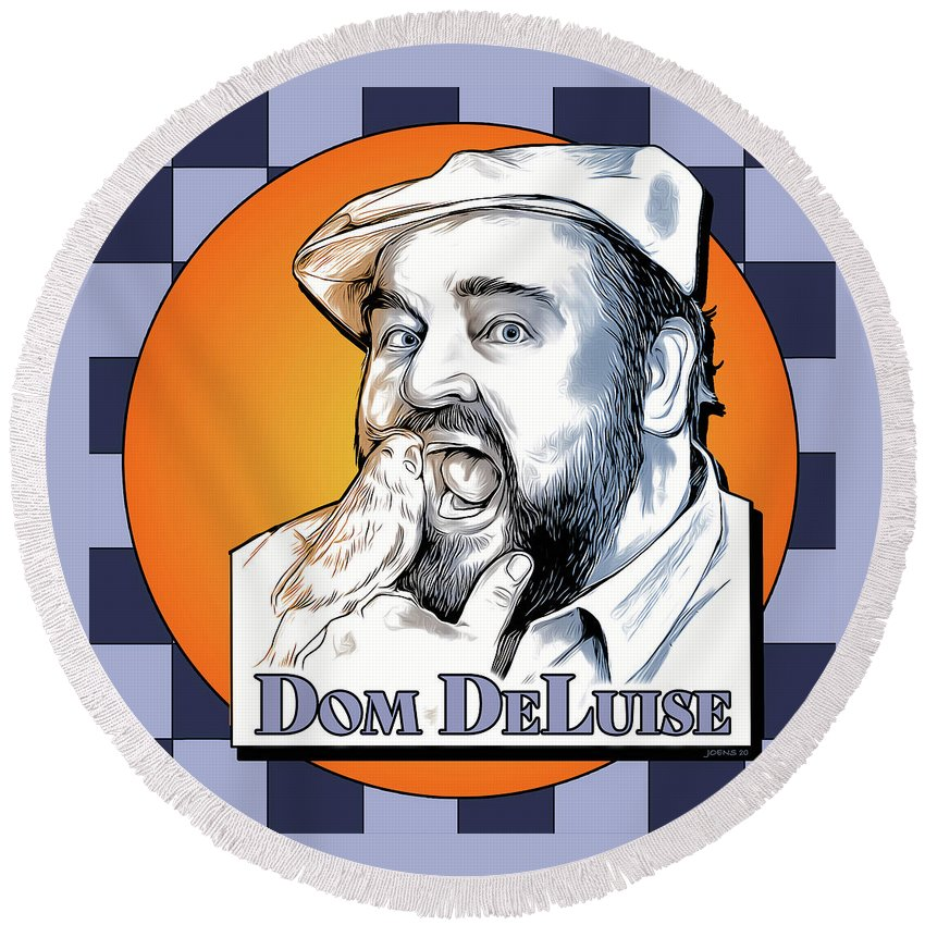 Dom Deluise Round Beach Towel featuring the digital art Dom and the Bird by Greg Joens