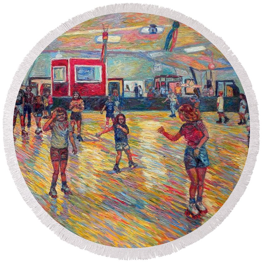 Figure Round Beach Towel featuring the painting Dominion Skating Rink by Kendall Kessler