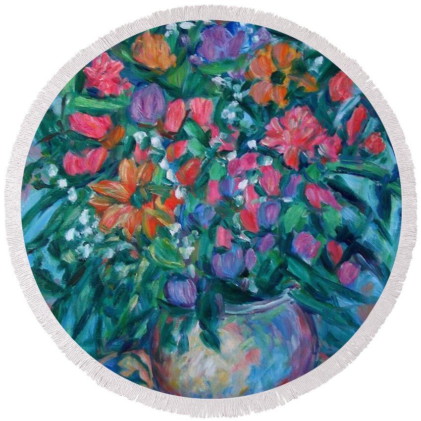 Floral Paintings Round Beach Towel featuring the painting Dream Bouquet by Kendall Kessler