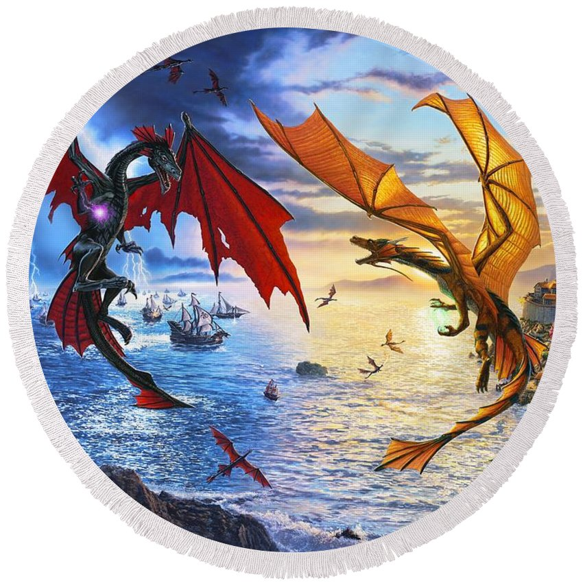 Dragon Round Beach Towel featuring the painting Duel of the Dragon Wizards by Stu Shepherd