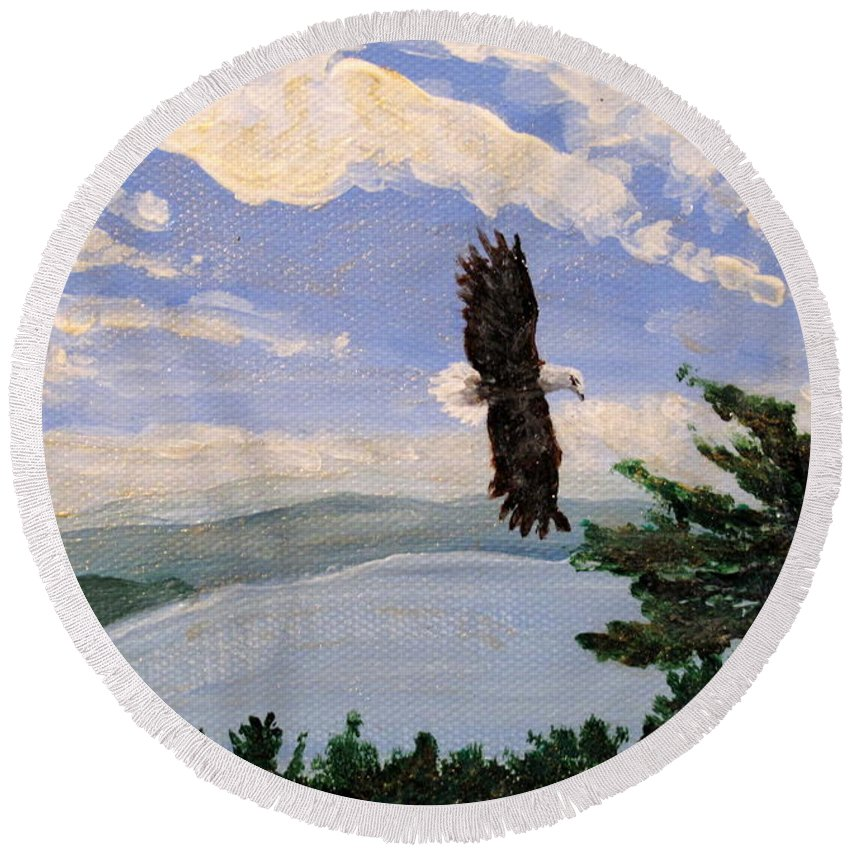 Bald Headed Eagle Round Beach Towel featuring the painting Eagles Fly Over Lake Huron by Ian MacDonald