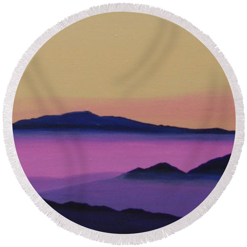 Mountains Round Beach Towel featuring the painting Early Morning by Hunter Jay