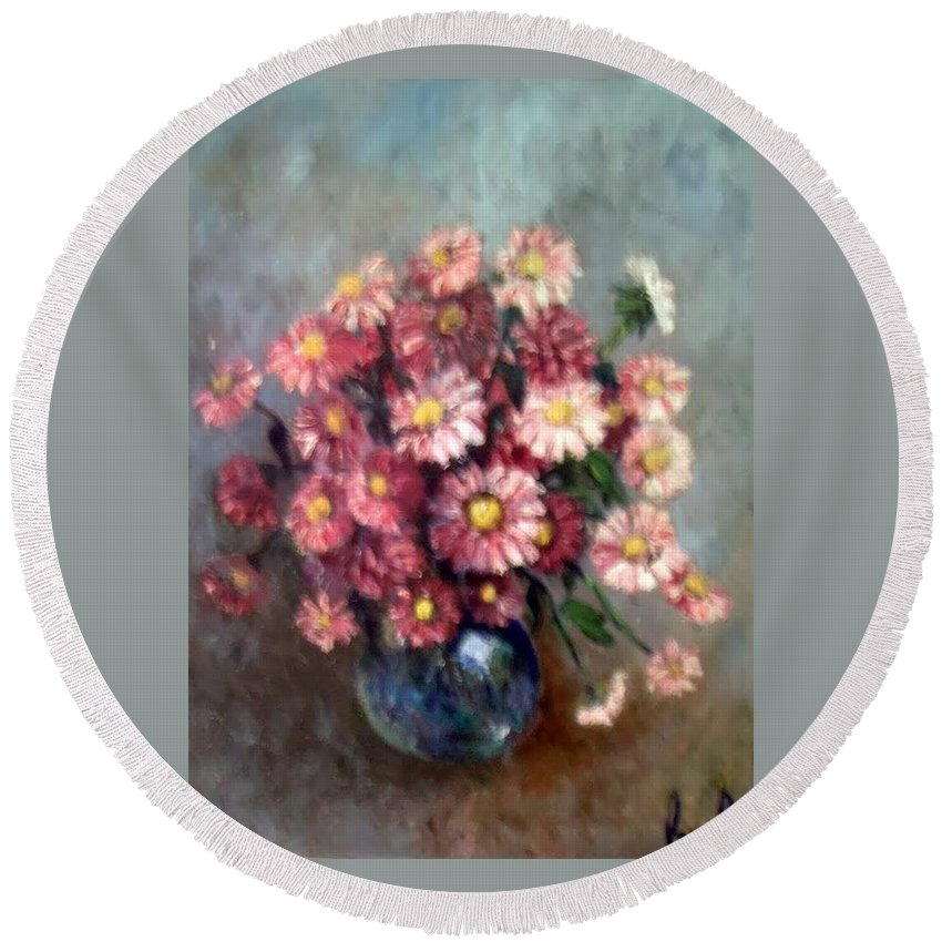 Round Beach Towel featuring the painting Early Paint by Carol P Kingsley