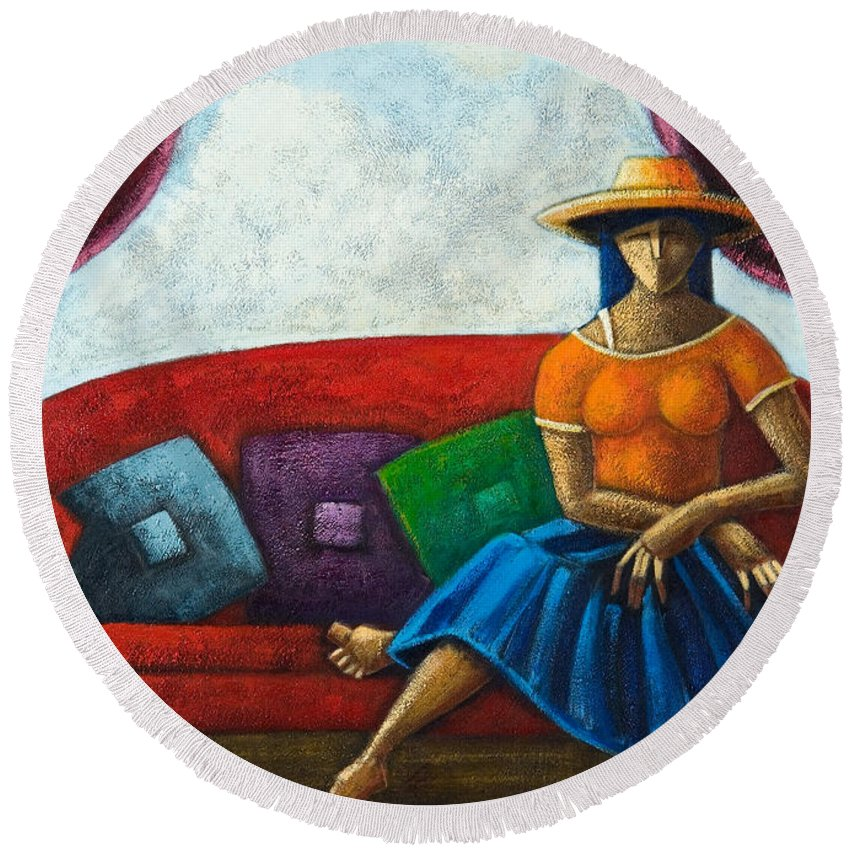 Puerto Rico Round Beach Towel featuring the painting El Ultimo Romance Del Verano by Oscar Ortiz
