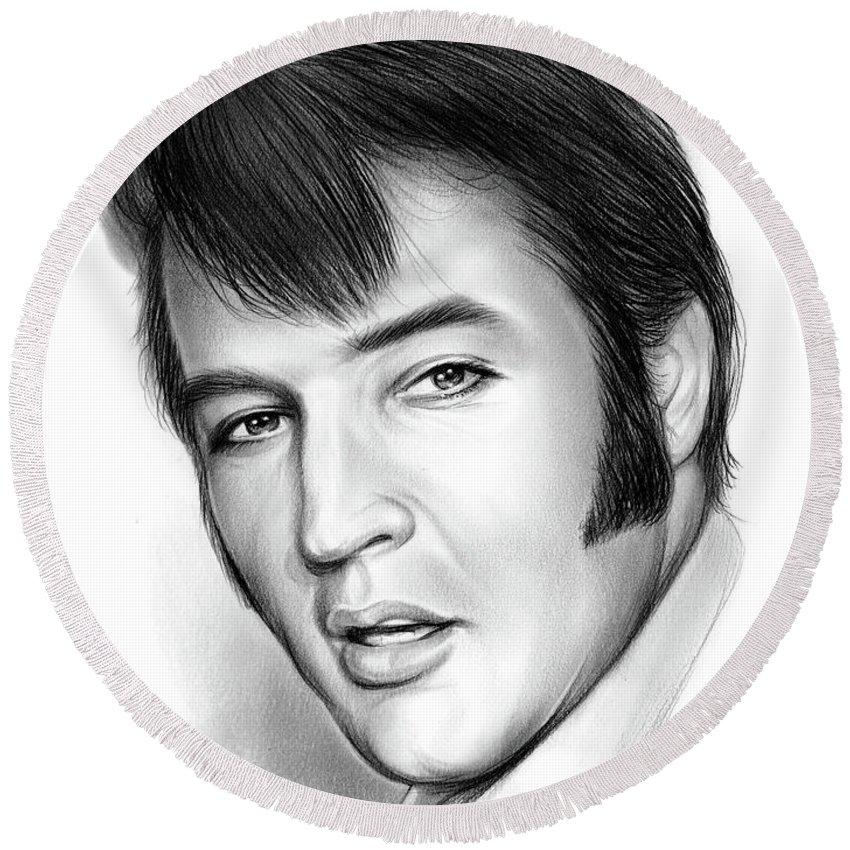Elvis Presley Round Beach Towel featuring the drawing Elvis 3 by Greg Joens