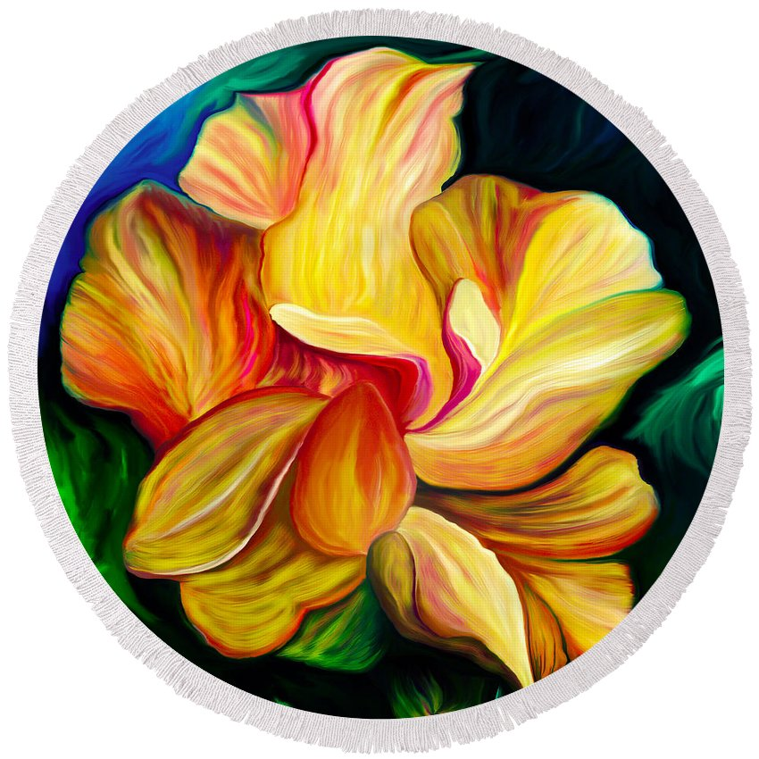 Hibiscus Painting Round Beach Towel featuring the painting Emergence II by Patricia Griffin Brett