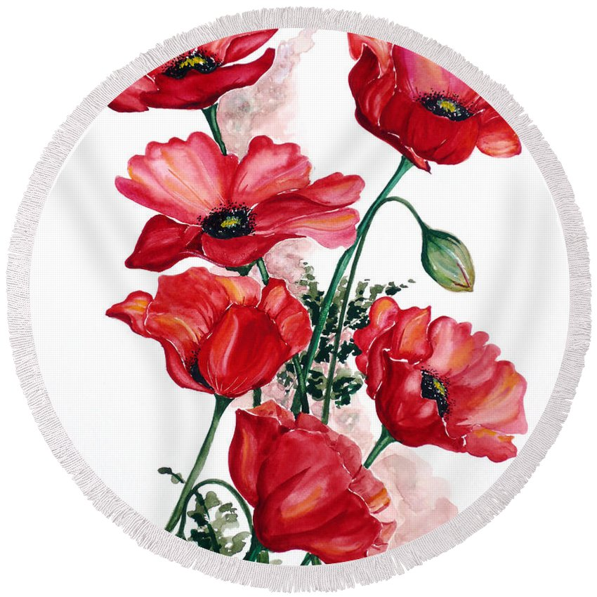 Original Watercolor Of English Field Poppies Painted On Arches Watercolor Paper Round Beach Towel featuring the painting English Field Poppies. by Karin Dawn Kelshall- Best