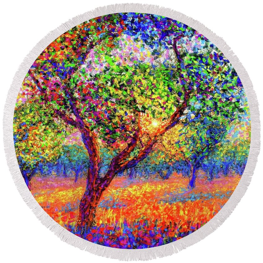 Floral Round Beach Towel featuring the painting Evening Poppies by Jane Small
