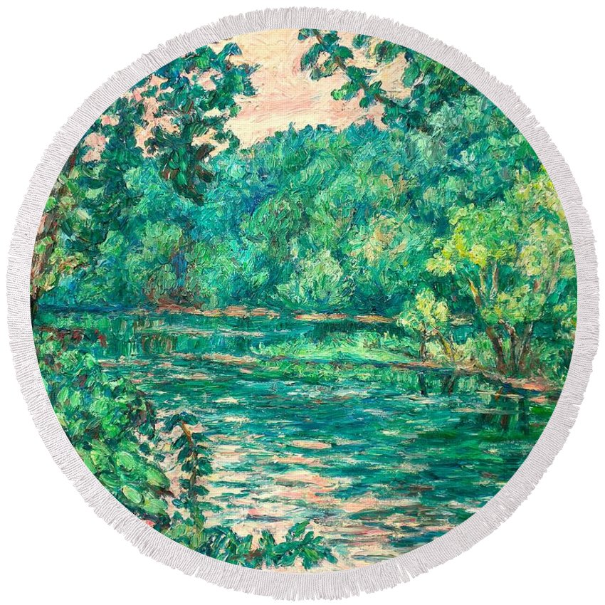 Landscape Round Beach Towel featuring the painting Evening River Motion by Kendall Kessler