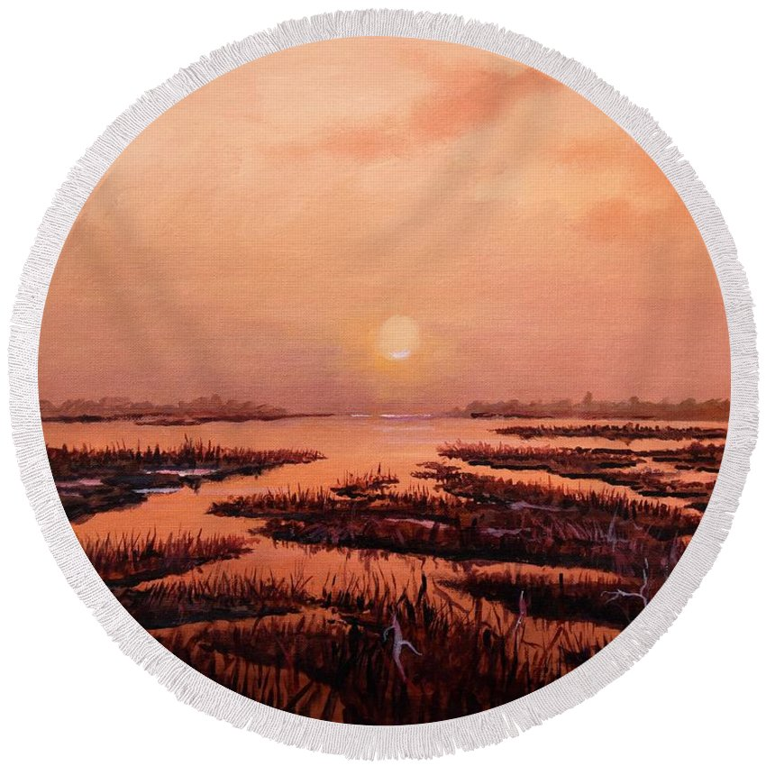 Marsh Round Beach Towel featuring the painting Evening Time by Sinisa Saratlic