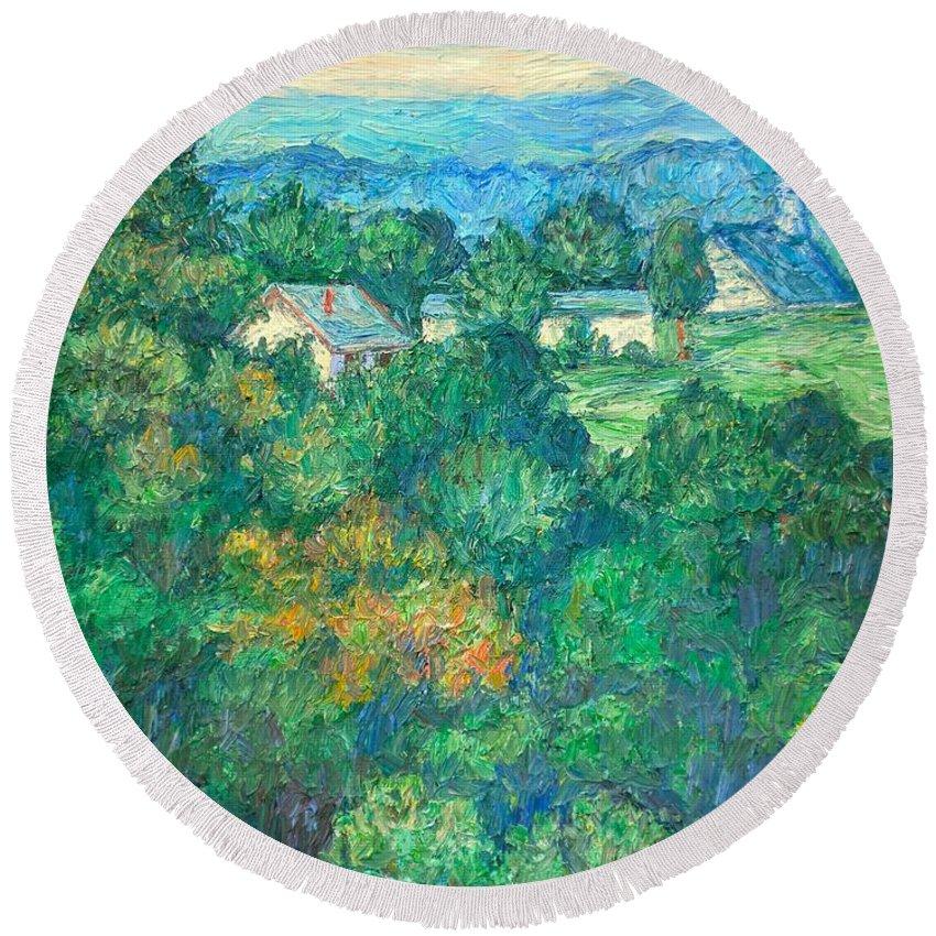 Kendall Kessler Round Beach Towel featuring the painting Fairlawn Ridge by Kendall Kessler