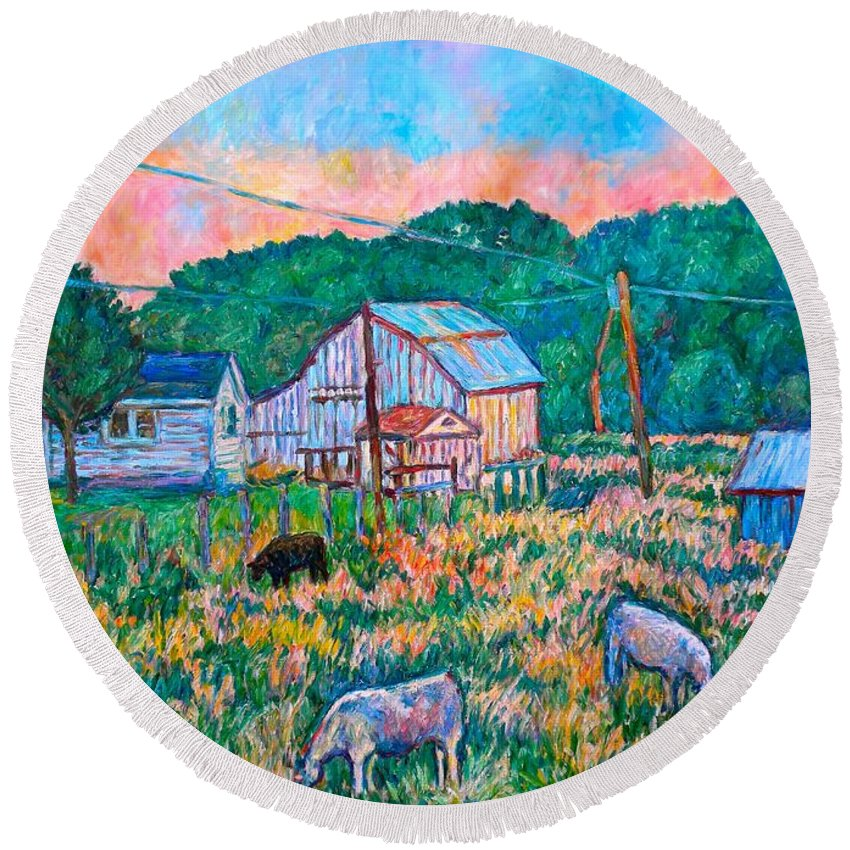 Landscape Round Beach Towel featuring the painting Farm Near Fancy Gap by Kendall Kessler