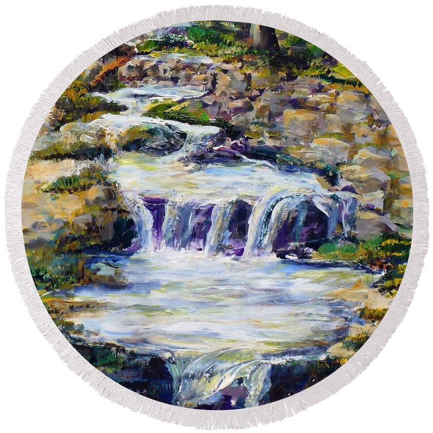 Los Angeles Round Beach Towel featuring the painting Fern Dell Creek Noon by Randy Sprout