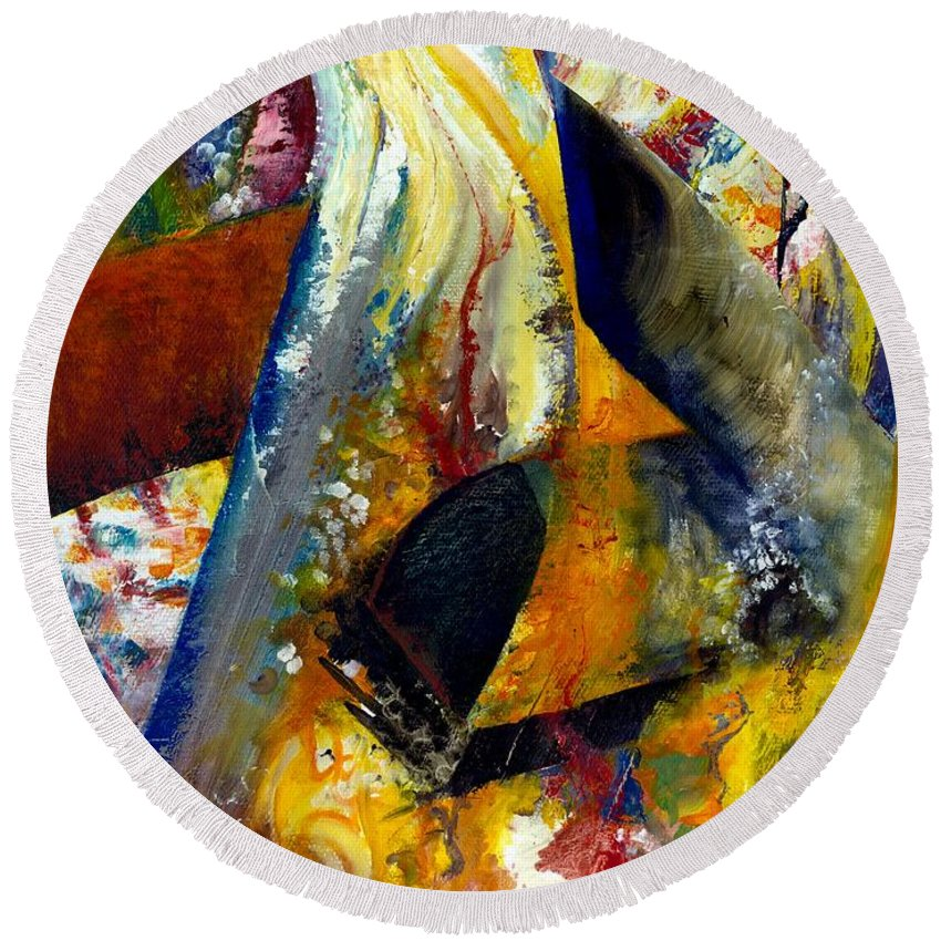 Rustic Round Beach Towel featuring the painting Fire Abstract Study by Michelle Calkins