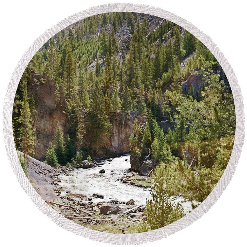 Firehole River Round Beach Towel featuring the photograph Firehole Canyon 3 by Marty Koch