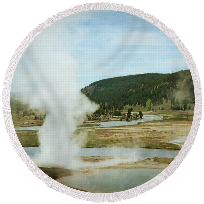 Firehole River Round Beach Towel featuring the photograph Firehole River 1 by Marty Koch