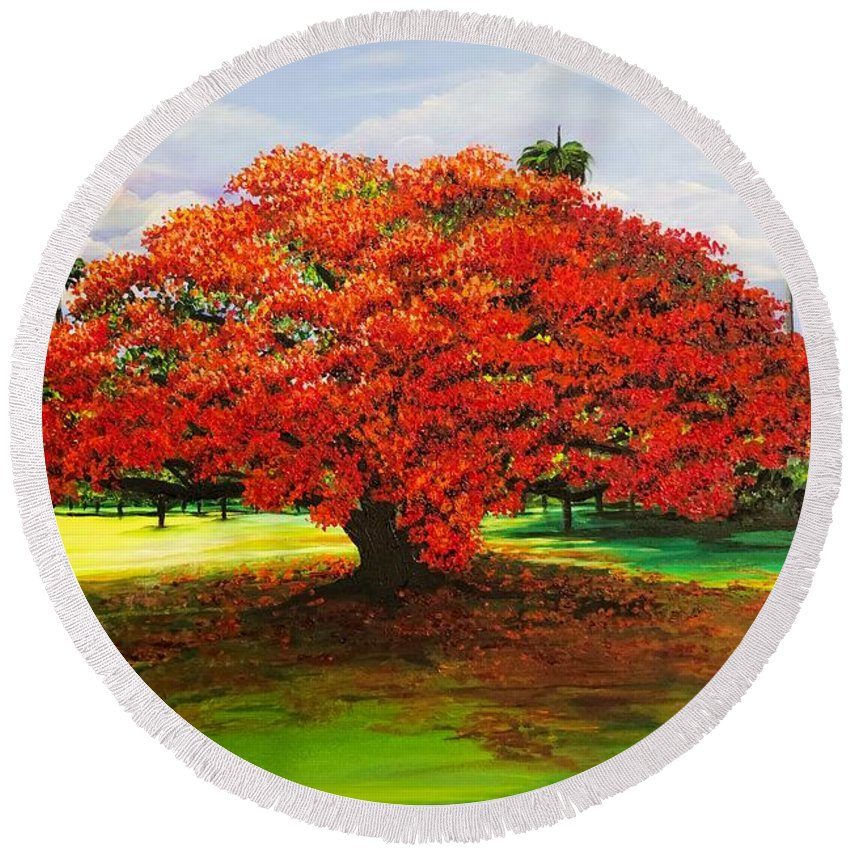 Flamboyant Tree Round Beach Towel featuring the painting Flamboyant Ablaze by Karin Dawn Kelshall- Best