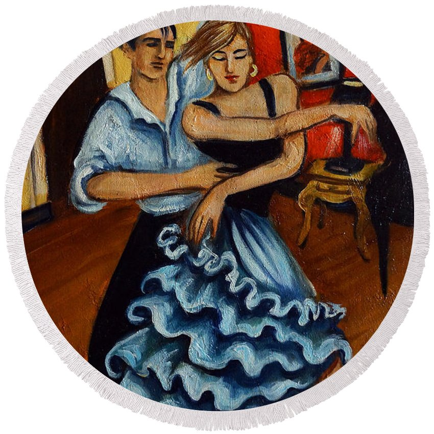 Dancers Round Beach Towel featuring the painting Flamenco by Valerie Vescovi