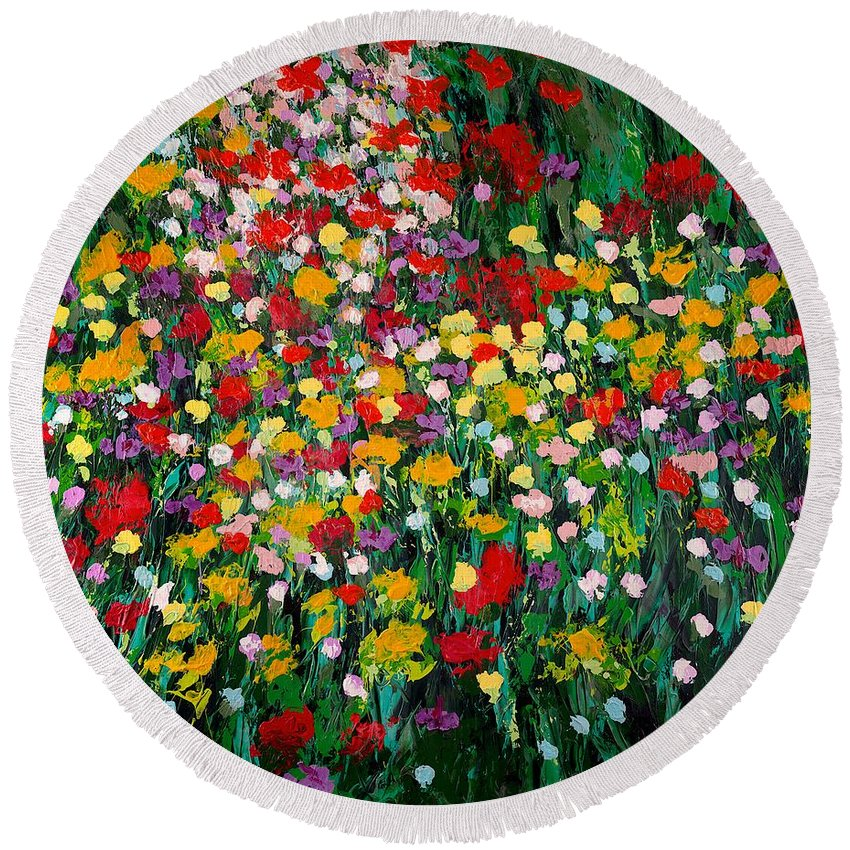 Landscape Round Beach Towel featuring the painting Floral Eruption by Allan P Friedlander
