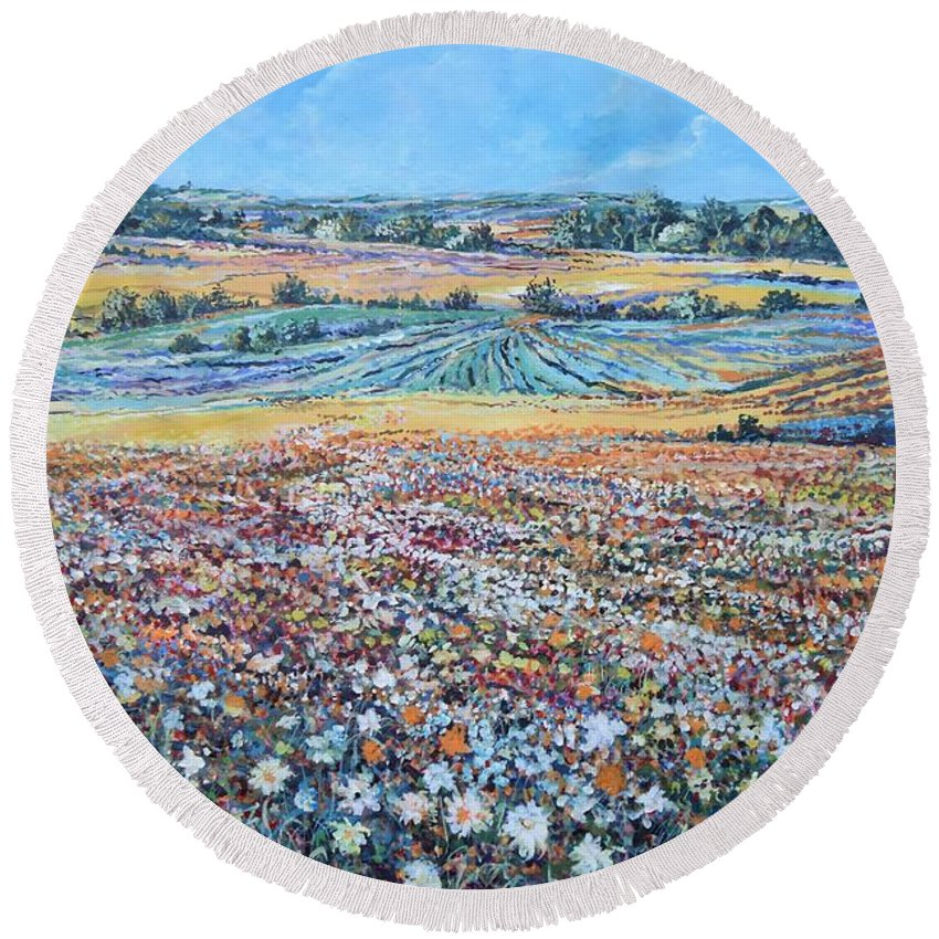 Flower Round Beach Towel featuring the painting Flower Field by Sinisa Saratlic