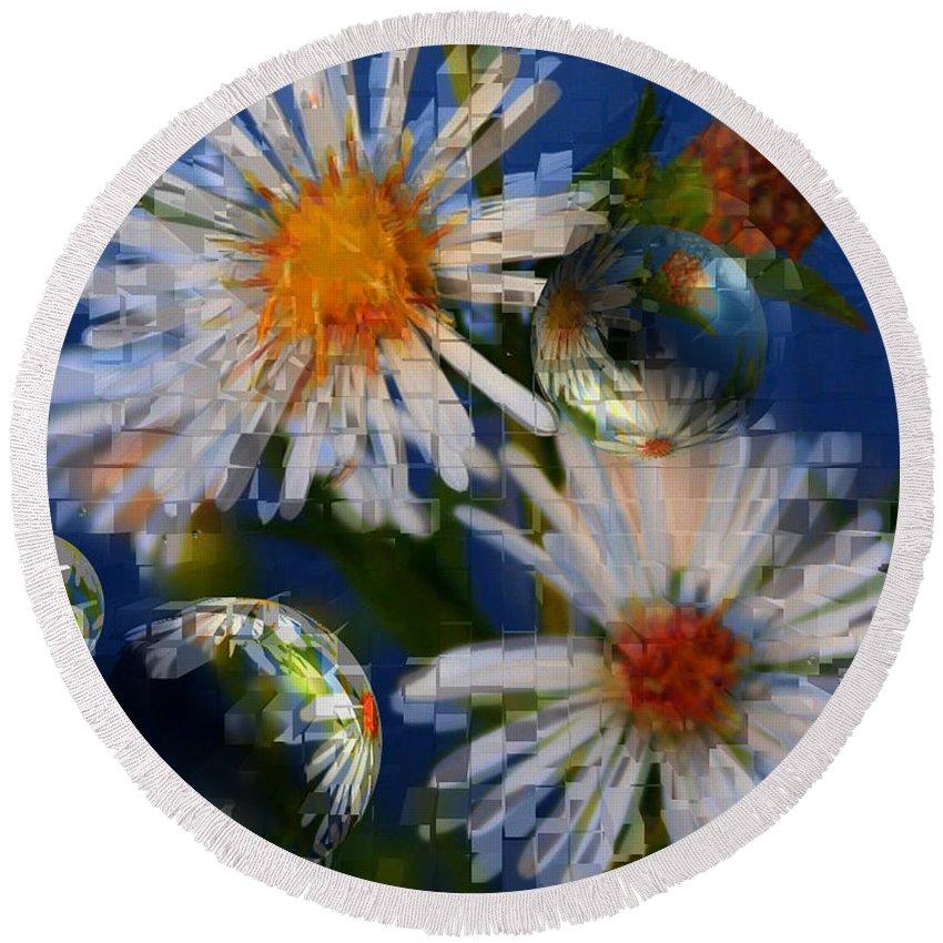 Flowers Round Beach Towel featuring the photograph Flower World by Linda Sannuti