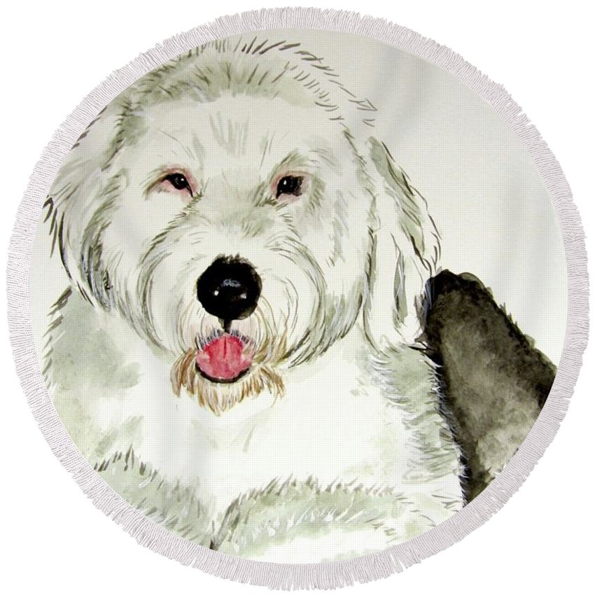 Old English Sheepdog Round Beach Towel featuring the painting Fluffy Murphy by Carol Blackhurst