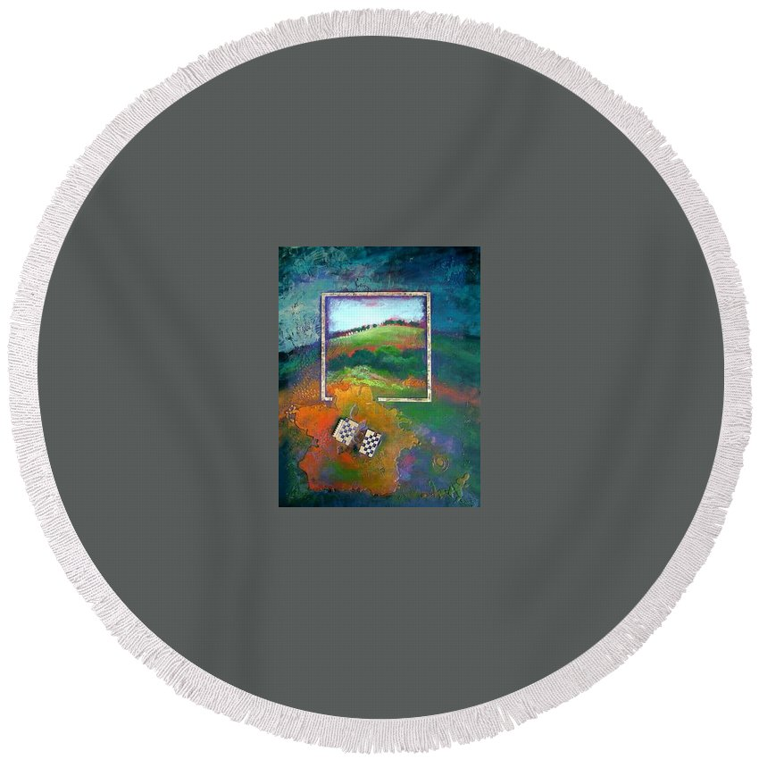 Impressionist Round Beach Towel featuring the painting Focal point by Farhan Abouassali