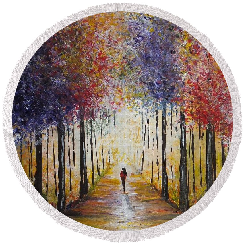 Colors Round Beach Towel featuring the painting Follow Your Path by Lisa Cini