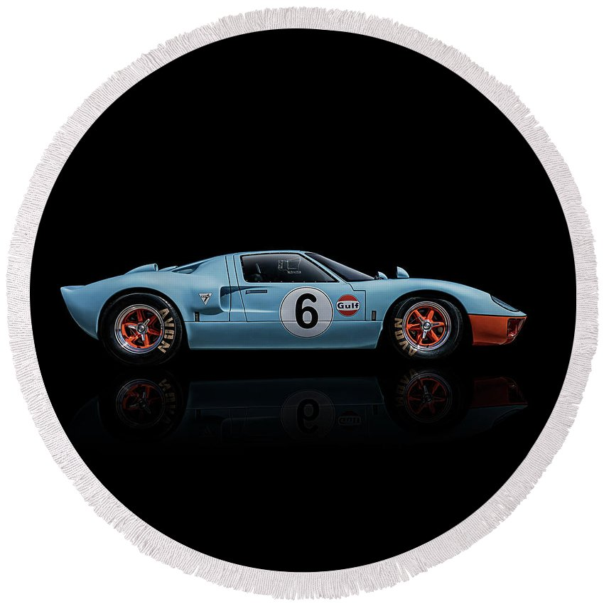 Racing Round Beach Towel featuring the digital art Ford GT 40 by Douglas Pittman
