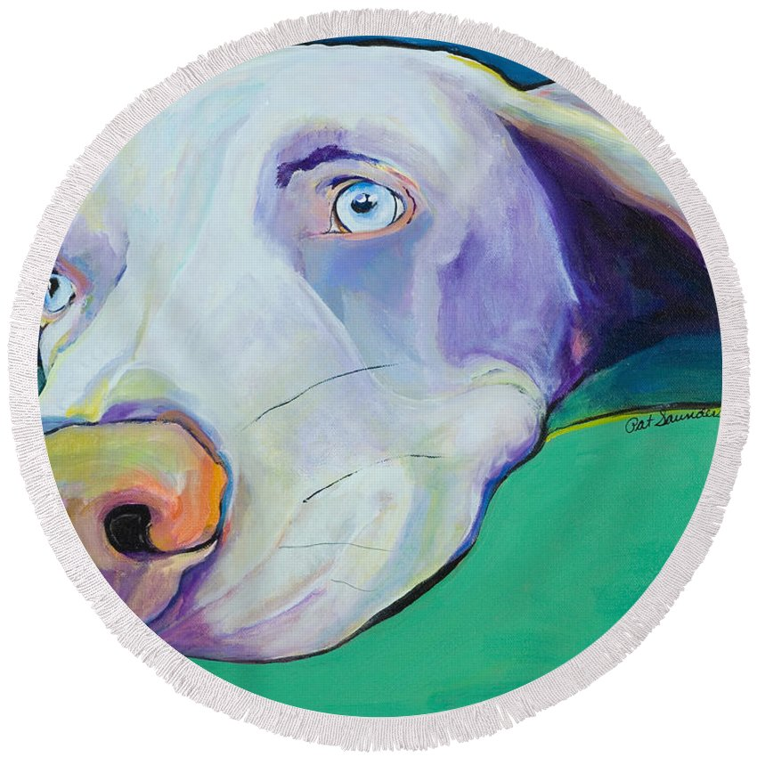 Pat Saunders-white Round Beach Towel featuring the painting Fritz by Pat Saunders-White