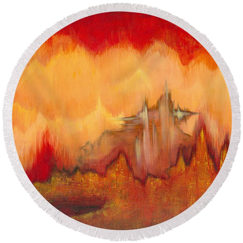 Red Round Beach Towel featuring the painting From the Valley by Shadia Derbyshire