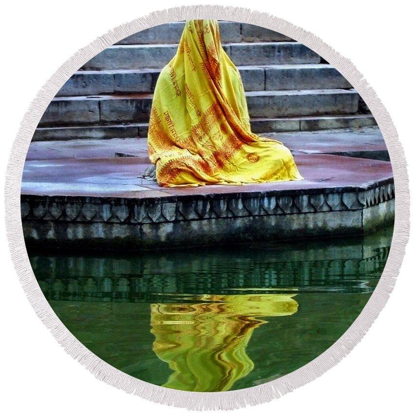 Meditate Round Beach Towel featuring the photograph Ganga Dream by Skip Hunt