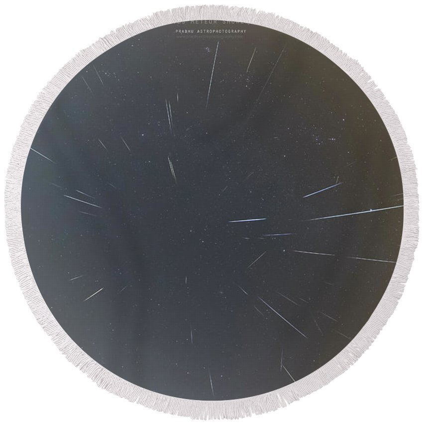 Round Beach Towel featuring the photograph Geminids Meteor Shower 2020 by Prabhu Astrophotography